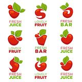 Apple, cherry, fruit and fresh juice, vector collection of logo, Stock Photos
