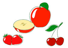 Apple cherry and strawberry Stock Photography