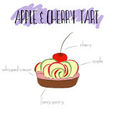 Apple and cherry tart Stock Photos