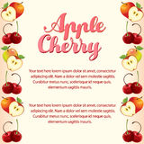 Apple cherry vertical border. Card with apple cherry vertical border Stock Images