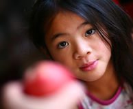 Apple and child Royalty Free Stock Images