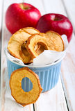 Apple chips. In blue ramekin royalty free stock image