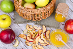 Apple Chips, Fresh Apples, Honey, Milk, Oat Flakes and Walnuts Royalty Free Stock Photo