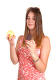 Apple or chocolate? Stock Photography