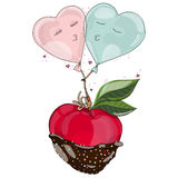 Apple in chocolate with balloon in love. Stock Photo