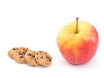 Apple and chocolate chip cookies, healthy snack choice Stock Photos