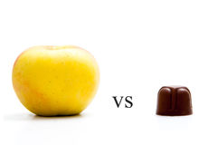 Apple and chocolate Royalty Free Stock Images