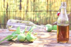 Apple cider in bottles stock photos