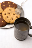Apple Cider and Chocolate Chip Cookies On Tin Plate Royalty Free Stock Photos