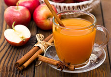 Apple cider with cinnamon sticks. On the table close up stock image