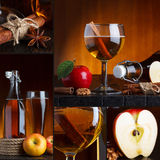 Apple cider collage. Apple cider beautiful collage still life Royalty Free Stock Images
