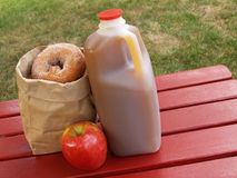 Apple cider and donuts. Apple cider, an apple and a bag of cinnamon-sugared donuts on a red picnic table stock images
