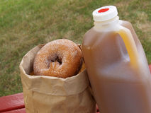 Apple cider and donuts. A half-gallon of apple cider alongside a bag of cinnamon-sugared donuts stock photography