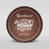 Apple cider emblem painted on wooden barell. Vector illustration vector illustration