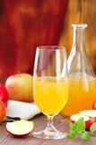 Apple cider in glass. Apple cider ready to drink royalty free stock images