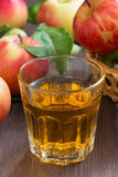 Apple cider or juice in a glass, vertical, selective focus Stock Photography