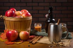 Apple cider with rustic decor Royalty Free Stock Photography