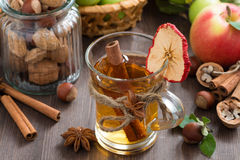 Apple cider with spices in glass mug, top view Stock Image
