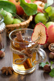 Apple cider with spices in glass mug on wooden table Royalty Free Stock Photo