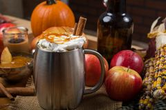 Cider in a silver stainless mug with fall decorations Stock Photography