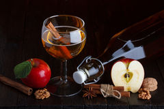 Apple cider. Still life with cinnamon stick, apple, walnut, and anise star Stock Photos