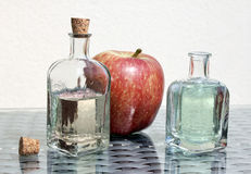 Apple cider vinegar and apple Royalty Free Stock Images