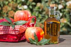 Apple cider vinegar. With a fresh apple Stock Photos