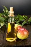 Apple cider vinegar in a glass vessel and apples Stock Image