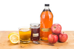 Apple cider vinegar with honey and lemon, natural remedies and c Stock Photography