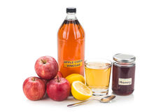 Apple cider vinegar with honey and lemon, natural remedies and c Stock Image