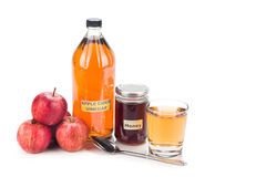 Apple cider vinegar with honey, natural remedies and cures for c Royalty Free Stock Images