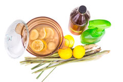 Apple cider vinegar, lemon, lemongrass effective insect repelle. Apple cider vinegar, lemon and lemongrass home remedy, safe and effective formula to repel royalty free stock photos