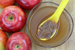 Apple cider vinegar with mother enzymes. Fresh apples and a bowl of raw and unfiltered organic apple cider vinegar with mother enzymes on a wooden background Stock Image