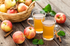 Apple cider. Wine and fresh juicy fruits stock images