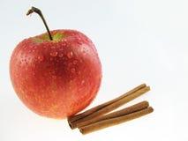 Apple  & Cinnamon. Apple  and two sticks of  cinnamon Royalty Free Stock Photos
