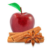 Apple and cinnamon with anise. Red apple and cinnamon with anise on white background stock images