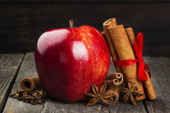 Apple, cinnamon, anisetree on a dark wooden background. Toning Royalty Free Stock Photos