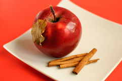 Apple with cinnamon and autumn leaves. Red apple with cinnamon and autumn leaves on a white plate Stock Photos