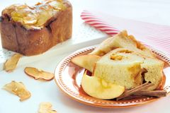 Apple Cinnamon Bread. Homemade bread with apple and cinnamon stuffing Royalty Free Stock Photos
