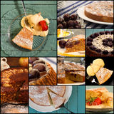 Apple Cinnamon Cherry Almond Lemon Cake Set Collage Royalty Free Stock Images