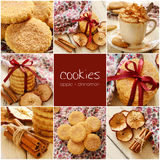 Apple cinnamon cookies collage Stock Photography