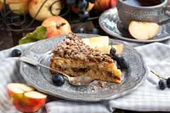 Apple and cinnamon crumble cake Stock Image
