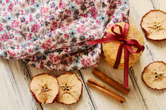 Apple and cinnamon crumbly cookies tied up with red ribbon and bow Stock Image