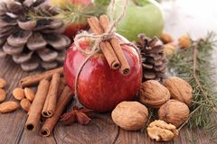 Apple,cinnamon and decoration Royalty Free Stock Photography