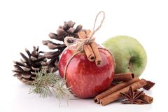 Apple,cinnamon and decoration Stock Images