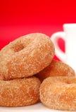 Apple Cinnamon Doughnuts With Coffee Stock Photo