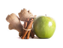 Apple, cinnamon and ginger Stock Photos