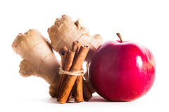 Apple, cinnamon and ginger Stock Image