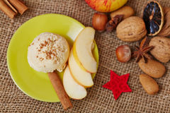 Apple cinnamon ice cream for christmas Stock Photo