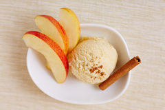 Apple cinnamon ice cream with slices Royalty Free Stock Photo